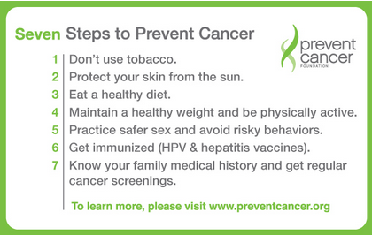Seven steps to prevent cancer