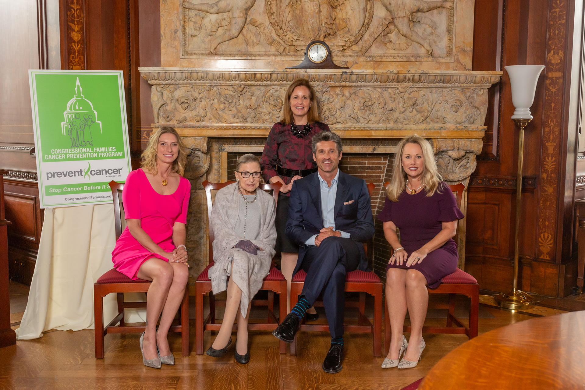 L-R: Honoree Amanda Soto, U.S. Supreme Court Justice Ruth Bader Ginsburg, Congressional Families Director Lisa McGovern, Patrick Dempsey, and honoree LeeAnn Johnson.