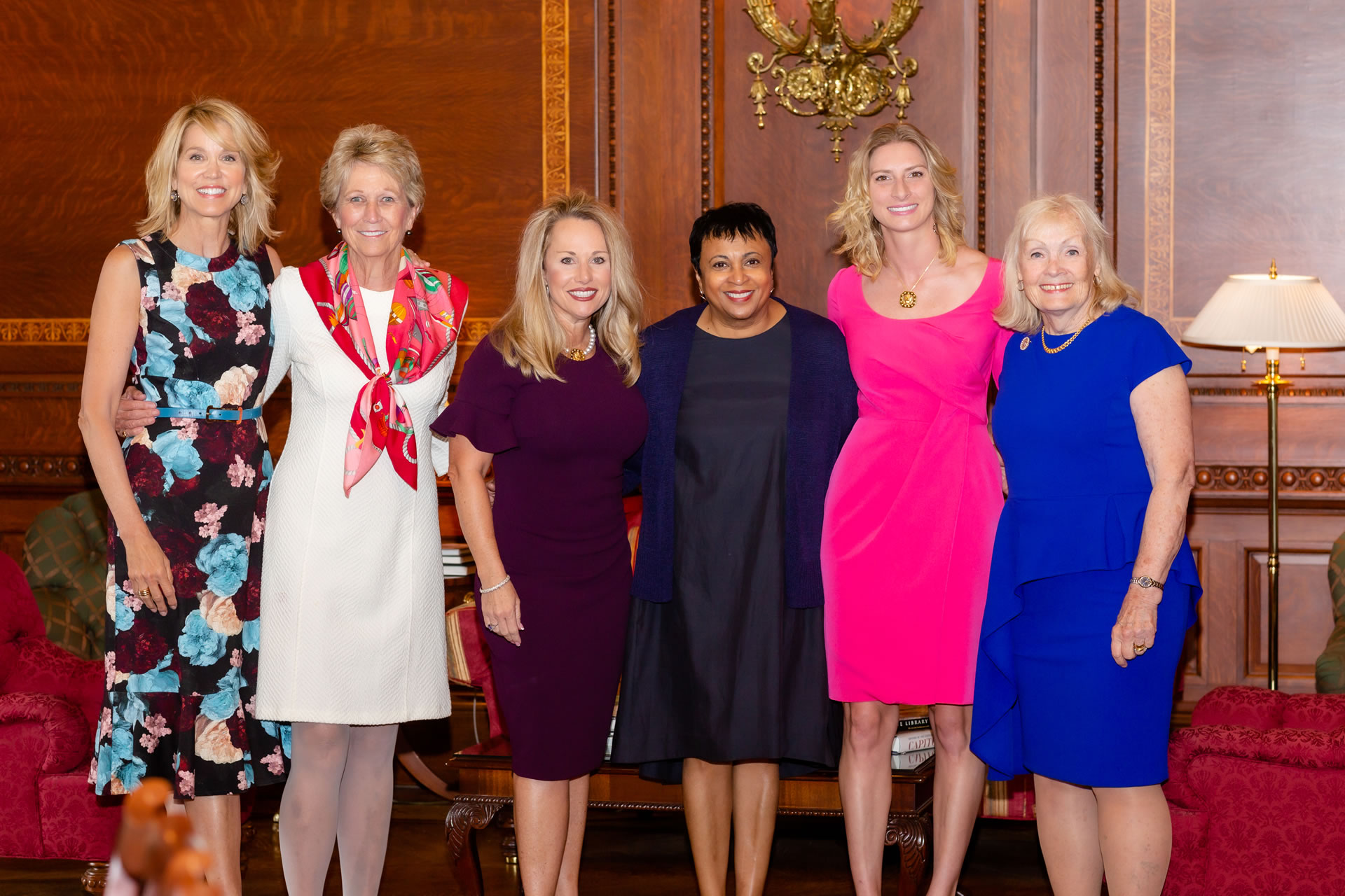 "L-R: Master of Ceremonies Paula Zahn, Prevent Cancer Foundation Founder/CEO Carolyn ""Bo"" Aldigé, honoree LeeAnn Johnson, Librarian of Congress Dr. Carla Hayden, honoree Amanda Soto and presenter Marcelle Leahy."