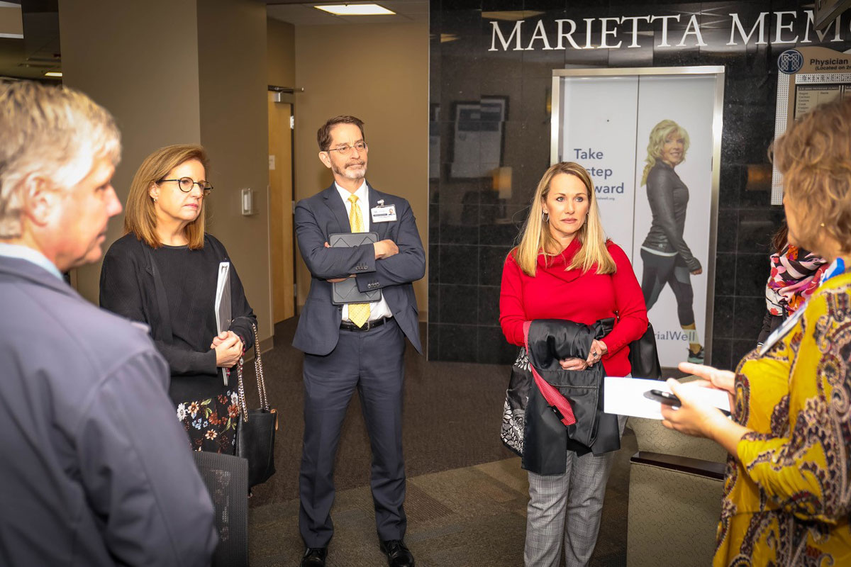 Lisa McGovern (left) and LeeAnn Johnson (right)  participate in a tour of the Belpre Medical Campus.  Photo courtesy of Memorial Health System .