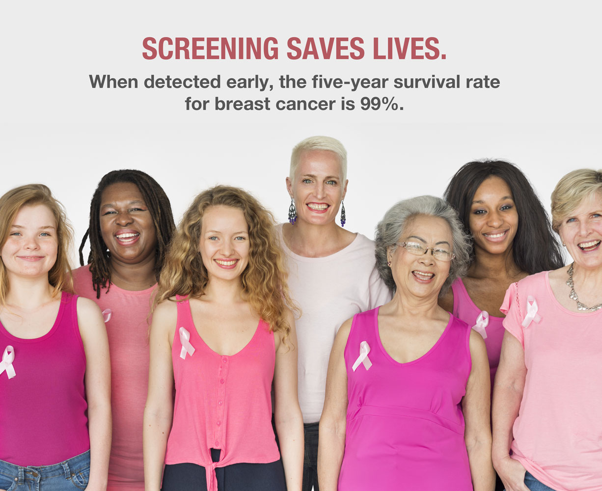 Screening saves lives. When detected early, the five-year survival rate for breast cancer is 99%.