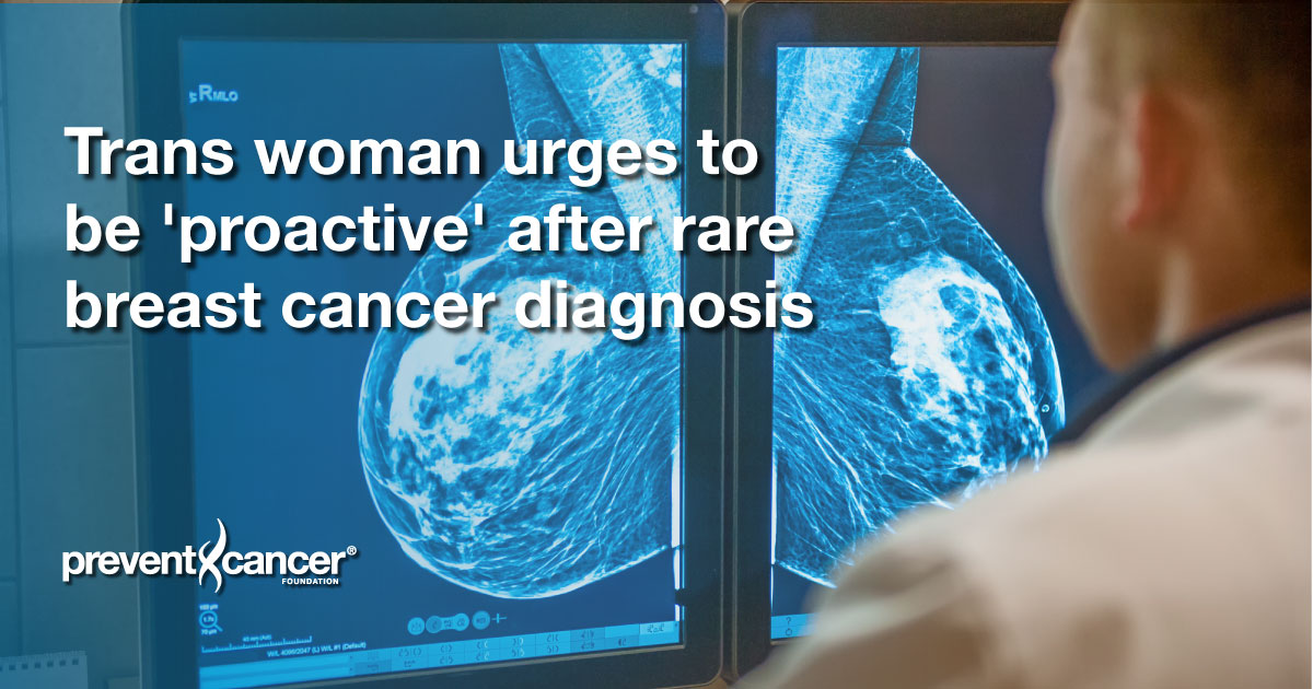 Trans woman urges to be 'proactive' after rare breast cancer diagnosis